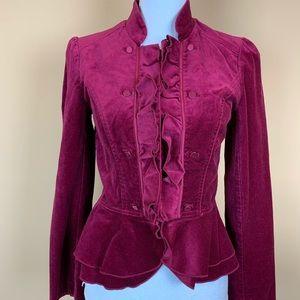 WHBM celvet rasberry red peplum jacket